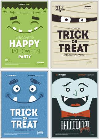 Collection d'affiches de fête d'Halloween. Modèle de conception d'Halloween. Illustration vectorielle