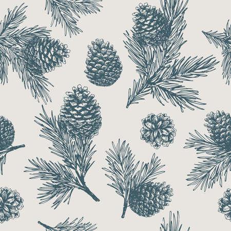 Tannenzapfen nahtloses Muster. Weihnachtsgeschenkverpackung.