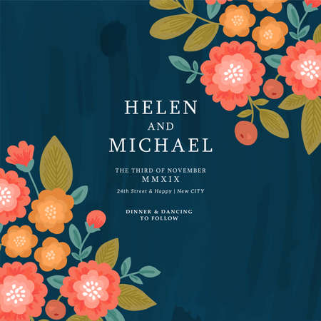Floral wedding invitation. Folk style flowers design template.  background. Illustration