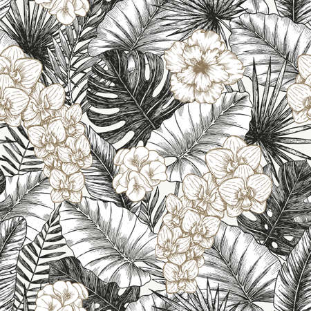 Exotic flowers and leaves seamless pattern. Silver and gold color. Tropical style.