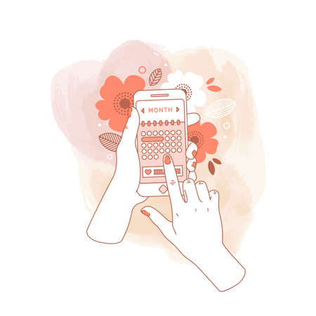 Woman hand holding smartphone with menstruation cycle calendar on watercolor background. Floral phone in hands.