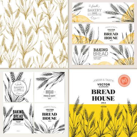 Bread design template collection. Banners, pattern, composition. Vector illustration Vecteurs
