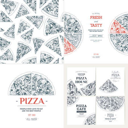Pizza banner design templates. Seamless pattern. Vintage illustrations. Vector illustration