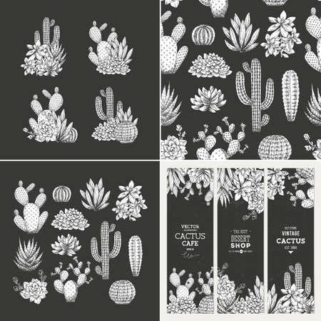 Kit de conception de cactus sombre. Illustration de style fragmentaire. Bannières, compositions, motif. Collection succulente.