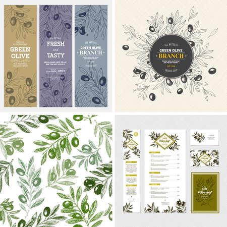 Olive design templates. Composition, seamless pattern, branding, banners. Vector illustration Illustration