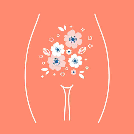 Women health illustration. Woman stomach with the flower inside. Vector illustration