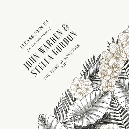 Elegant wedding invitation with exotic flowers and leaves. Card design template. Ilustração