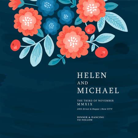 Floral wedding invitation. Folk style flowers design template.