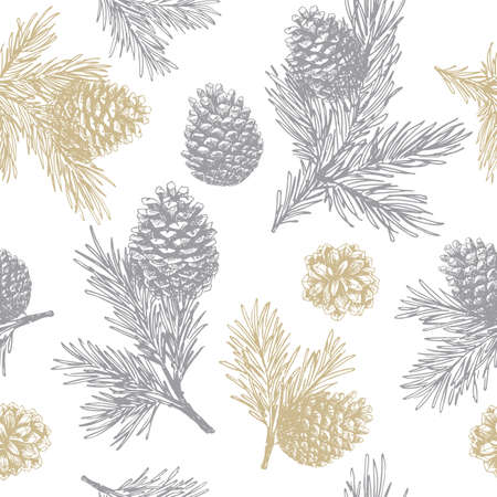 Pine cones and branches seamless pattern. Christmas gift wrapping. Illustration