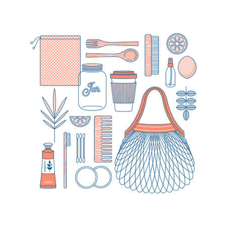 Zero waste start kit. Objects on white background. Bathroom and kitchen supplies. Zero waste shopping. Body care kit. Vector illustration Illustration
