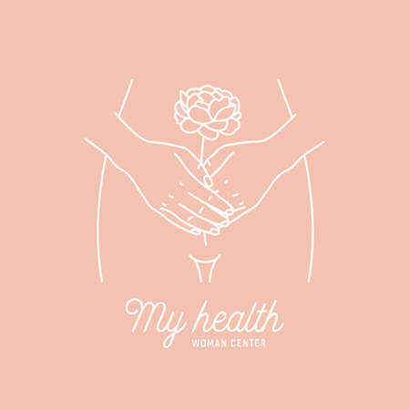 Woman health . Intimate hygiene. Hands with the flower. Vector illustration