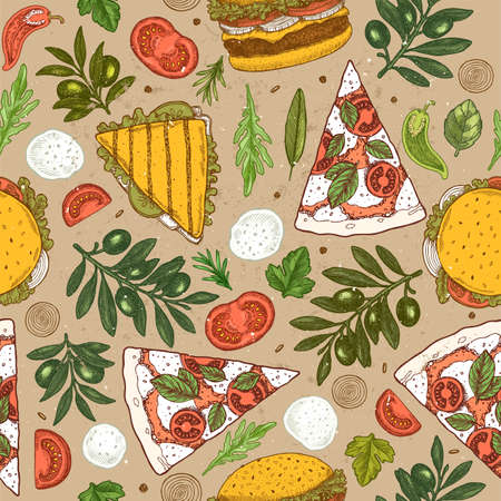 Colored pizza ingredients kraft paper seamless pattern. Vintage style colored illustrations.
