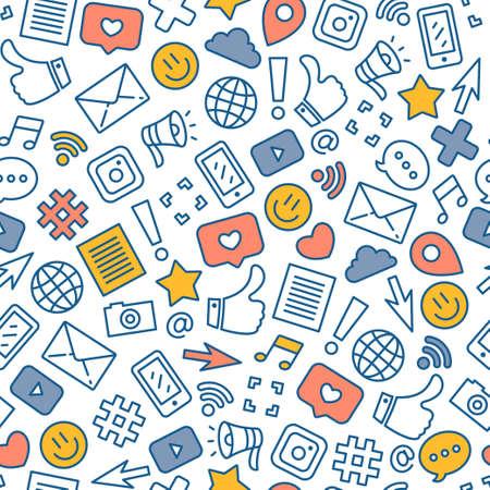 Patrón transparente coloreado de redes sociales. Fondo de mensajería de Internet. Ilustración vectorial Ilustración de vector