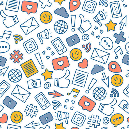 Social media colored seamless pattern. Internet messenger background. Vector illustration Фото со стока - 111089898