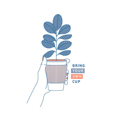 Woman hand holding coffee cup with rubber plant inside. Zero waste concept. Bring your own cup. Flat line style. Vector illustration