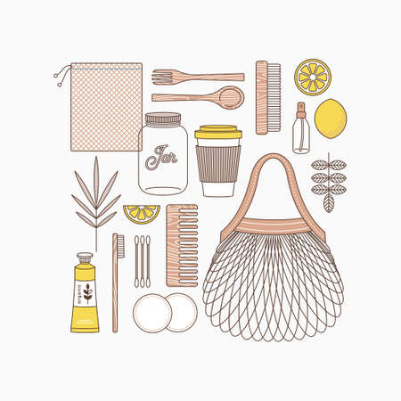 Zero waste. Objects on white background. Bathroom and kitchen supplies. Zero waste shopping. Body care kit. Vector illustration  イラスト・ベクター素材