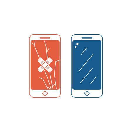 Illustrazione del servizio di riparazione del telefono. Telefono con schermo rotto e con schermo fisso. Vettoriali