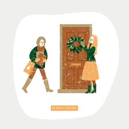 Happy friends meeting at the door decorated with the christmas wreath. Winter holidays. Greeting card. Vector illustration