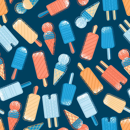 Abstract seamless pattern of colorful ice cream. Different kinds of ice cream. Funny simple pattern. Vector illustration