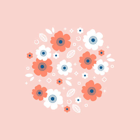 Red and white flower round composition. Florals background. Vector illustration