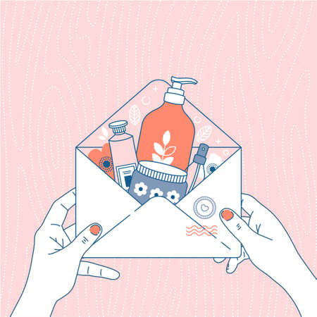 Cosmetics online shop order. Package with different cosmetics. Envelope in woman hands. Vector illustration