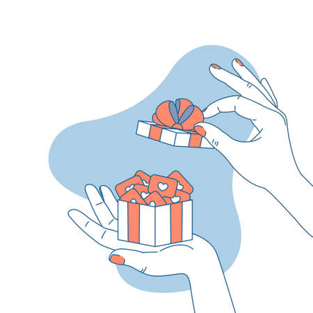 Woman hand holding a gift box with social media marks. Surprise illustration. Like symbol. Vector illustration