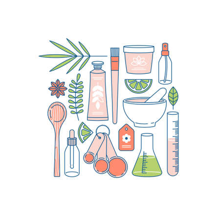 Organic cosmetics collection. Making organic natural product. Hand cream, face cream containers, laboratory glass equipment, ingredients. Vector illustration Ilustração