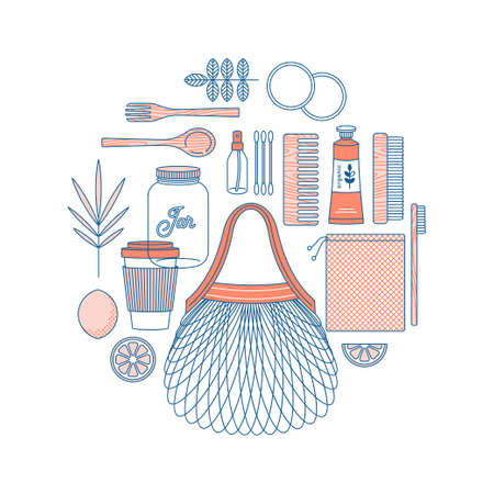Zero waste design template. Eco shopping. Body care kit. Vector illustration Standard-Bild - 111907172