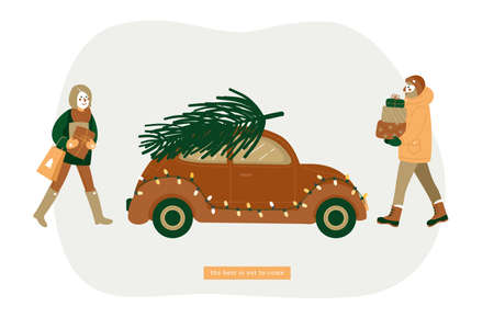 Happy couple carrying christmas tree on the car. Christmas gift shopping. Preparing for holidays. Family. Greeting card. Vector illustration