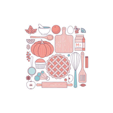 Kitchen tools Thanksgiving collection. Kitchenware set. Bakery objects. Pie making. Line art style. Vector illustration