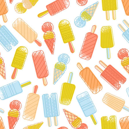 Abstract seamless pattern of colorful ice cream