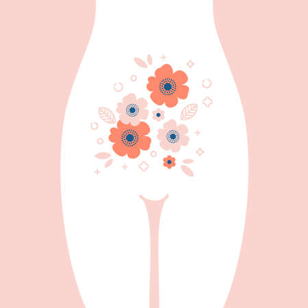 Women health illustration. Stomach with the flower inside. Young happy woman. Vector illustration