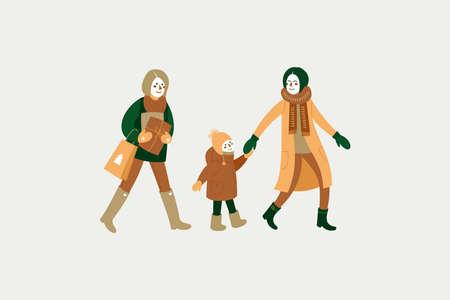 Glückliche Leute, die gehen. Wintereinkauf im Urlaub. Grußkarte. Vektorgrafik