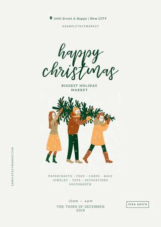 Christmas fair poster. Minimalist design template.  Art and craft market. Vector illustration Vettoriali