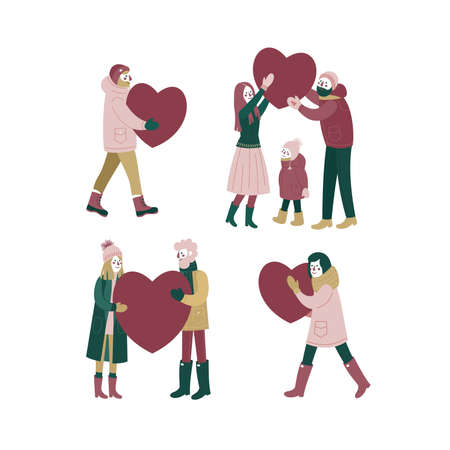 Set of happy couples in love. People carying big hearts. Dating people. Saint Valentines day. Vector illustration Ilustração