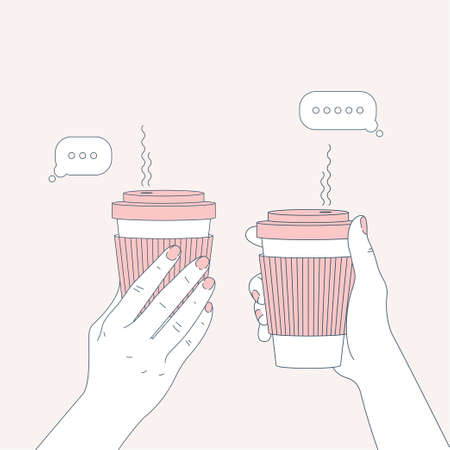 Two hands holding coffee cups. Chatting friends. Vector illustration Foto de archivo - 114305715
