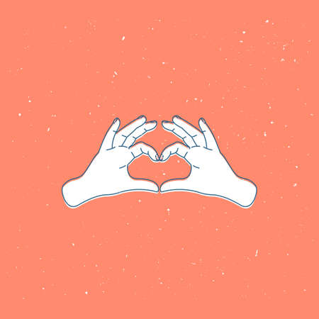 Heart shape made of two hands. Vintage style valentines greeting card. Vector illustration