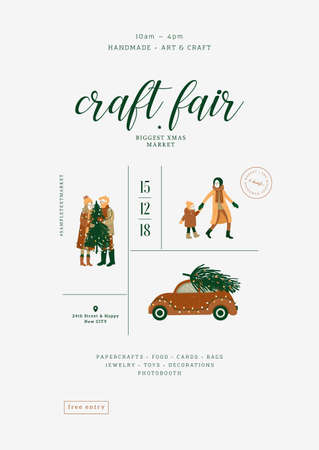 Christmas fair poster. Minimalist design template. Art and craft market. Vector illustration Illustration