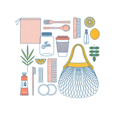 Zero waste design template. Eco shopping. Body care kit. Vector illustration