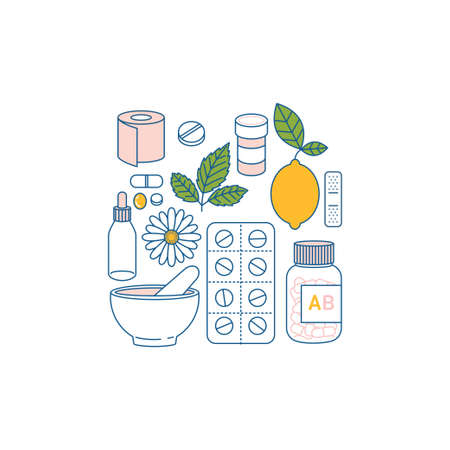 Flu remedies. Medications, lemon, camomile. Flat line art. Vector illustration