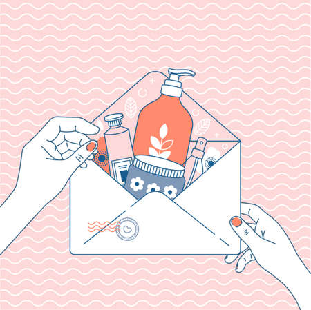 Cosmetics online shop order. Online store delivery. Package with different cosmetics. Envelope in woman hands. Vector illustration