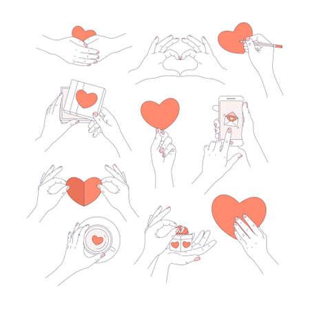 Mani minimaliste che tengono i simboli dell'amore. Messaggio d'amore, biglietto di auguri, confezione regalo, tazza da tè. Il giorno di San Valentino. Illustrazione vettoriale