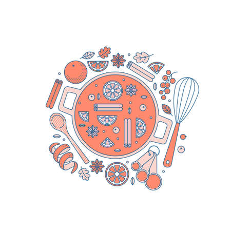 Christmas hot mulled wine recipe. Kitchen supplies. Making drinks. Vector illustration