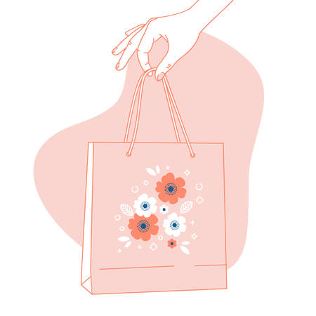 Woman hand holding pink paper bag. Shopping background. Vector illustration