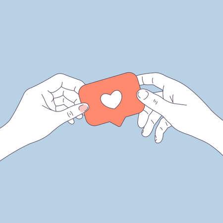 Mains de couple tenant le symbole des médias sociaux comme. Carte de voeux Saint Valentin. Illustration vectorielle Vecteurs