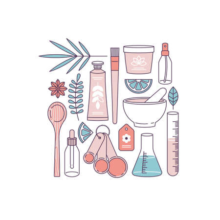 Handmade organic cosmetic. Making organic natural product. Hand cream, face cream containers, laboratory glass equipment, ingredients. Vector illustration Stockfoto - 115586189