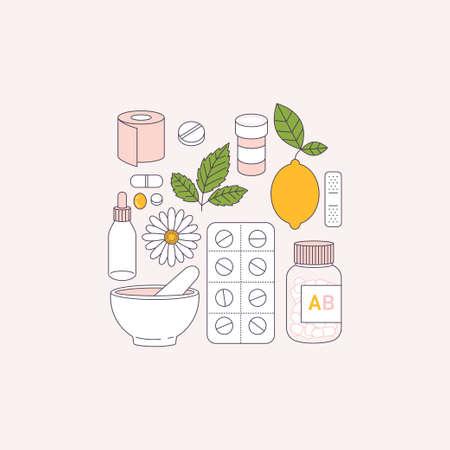 Flu remedy. Medications, lemon, camomile. Flat line art. Vector illustration