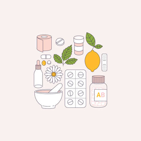 Flu remedy. Medications, lemon, camomile. Flat line art. Vector illustration