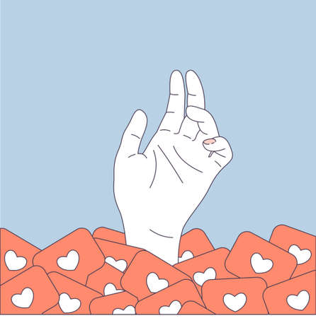 Social media pile. User hand in a pile of likes. Vector illustration