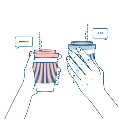 Two hands holding coffee cups. Chatting people. Vector illustration Illustration